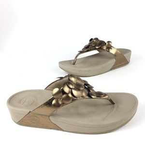 Fitflop Bronze Flowered Thong Sandals Size  10